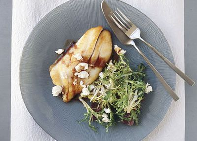 "<a href=""http://kitchen.nine.com.au/2016/05/19/15/40/panfried-john-dory-agrodolce-with-endive-and-goats-cheese"" target=""_top"">Pan-fried John Dory agrodolce with endive and goat's cheese<br> <br> </a>"