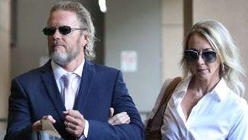 Australian actor Craig McLachlan partner Vanessa Scammell arrive at the Melbourne Magistrates Court in Melbourne.