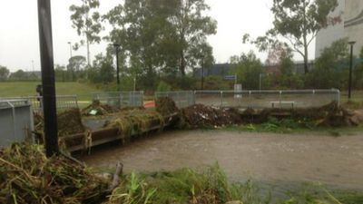 Kedron Brook in Brisbane is rising as the storm formerly known as Tropical Cyclone Marcia sweeps south. (9NEWS)