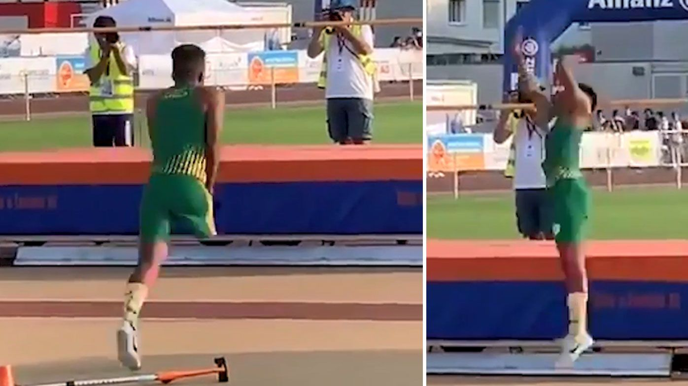 Obed Lekhehle has stunned sports fans with viral footage of his high-jump technique