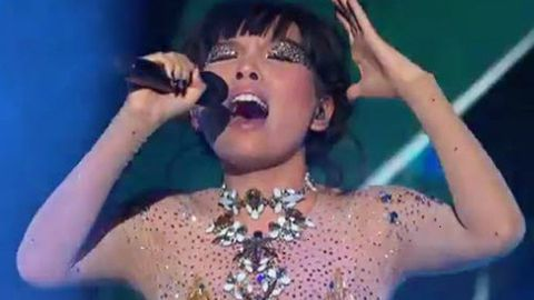 Go girl! <i>X Factor</i>'s Dami rocks out in nude bodysuit
