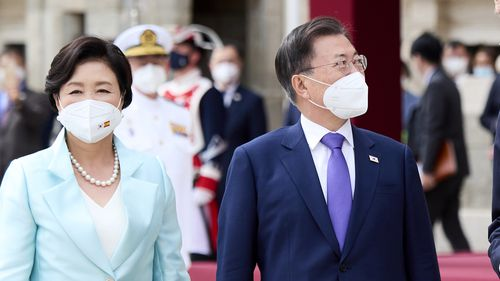 King Felipe VI and Queen Letizia of Spain receive South Korean President Moon Jae-in and first lady Kim Jung-sook at the Royal Palace on June 15, 2021