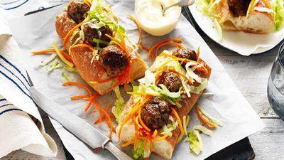 "Recipe:&nbsp;<a href=""http://kitchen.nine.com.au/2017/05/10/11/22/pork-and-mushroom-meatball-subs"" target=""_top"">Pork and mushroom meatball subs</a>"