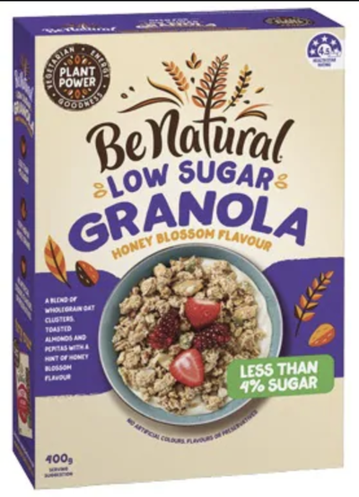 Be Natural Low Sugar Granola - 3.4g sugars per 100g