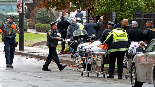 Three officers were also shot in the attack at the Tree of Life Congregation in Pittsburgh's Squirrel Hill neighborhood.