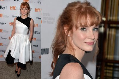 Jessica Chastain gets onboard the pocket-dress trend at the <i>Miss Julie</i> premiere.