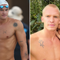Cody Simpson celebrates after competing in swimming championships