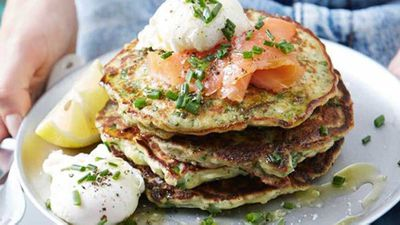 Chive, kale and parmesan pancakes with poachies