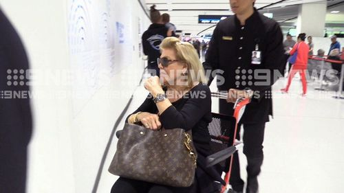The 80-year-old was dropped at Sydney Airport by her daughter Gretel yesterday. (9NEWS)