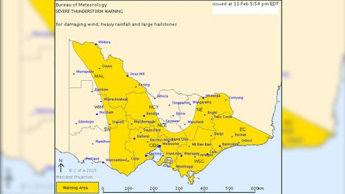 A severe thunderstorm warning has been issued for most of the state. (BOM)