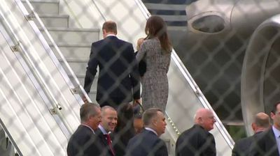 The Duke and Duchess of Cambridge have touched down in Sydney this morning with Prince George on his first ever visit to Australia – but the royal trio only stayed for a few minutes.