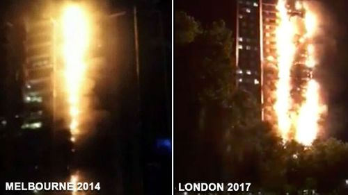 London high-rise blaze draws eerie parallels to Melbourne apartment fire. (9News)