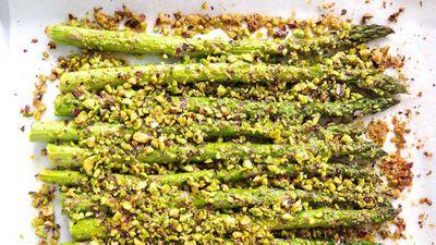 "Recipe:&nbsp;<a href=""http://kitchen.nine.com.au/2017/06/01/16/57/pistachio-crusted-asparagus"" target=""_top"">The Nude Nutritionist's pistachio crusted asparagus</a>"