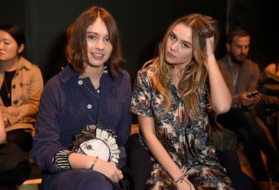 Iris Law teamed up with Immy Waterhouse - the BFFs love a natural nude makeup look teamed with soft, shiny, sweetly curled hair.