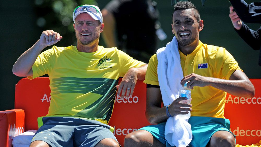 Australian Davis Cup captain Lleyton Hewitt and star player Nick Kyrgios. (AAP)