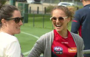 Hollywood star Natalie Portman drops in on Melbourne Demons training