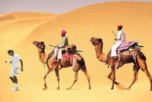 Jay Kamarth tweeted this picture, telling Federer it was his destiny to lead an expedition into the dunes of Jaisalmer, Rajastan. (Picture: Twitter)