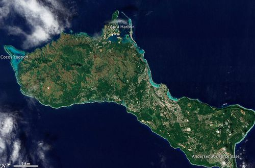 The US island territory of Guam in the western Pacific is a key military base. (NASA).