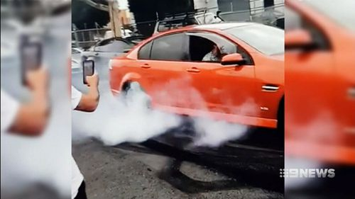 The burnout party was hosted by a local smash repair shop.