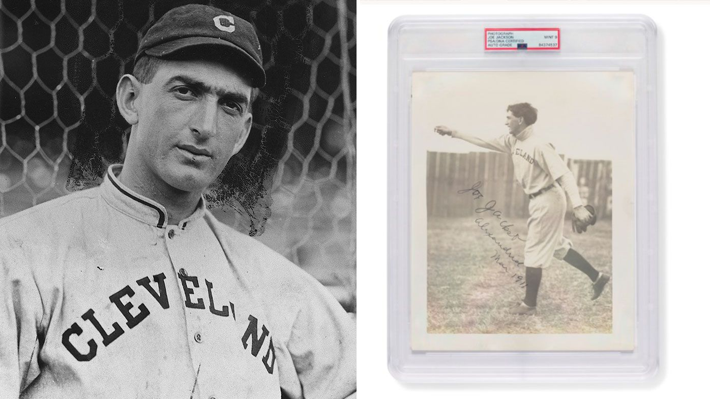 Joe Jackson when he played for the Cleveland Indians and the autographed 1911 photo