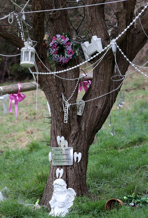 The memorial tree close to where the bodies of the two nine-year-old girls were discovered in Brighton, UK.