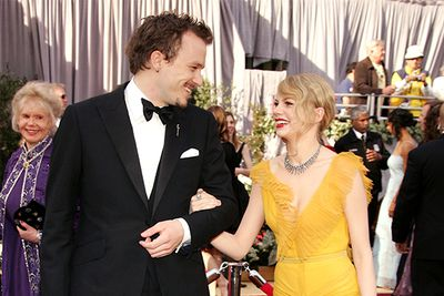 After getting together on the set of <i>Brokeback Mountain</i> and the birth of their child; Matilda in 2005, Heath Ledger and Michelle Williams attended the ceremony hand in hand.  They'd both been nominated that night for <i>Brokeback Mountain</i>, best actor and supporting actress respectively.
