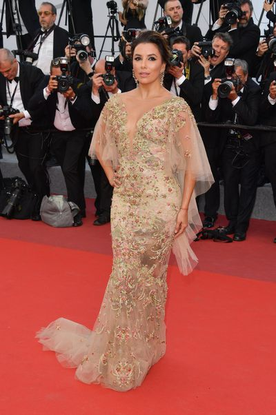 Eva Longoria, 42, at the premiere of <em>The Killing of a Sacred Deer</em> in Cannes in Marchesa.