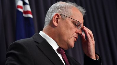 An emotional Prime Minister Scott Morrison during his press conference today.
