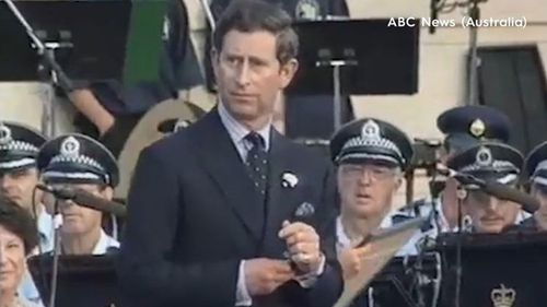 Prince Charles on stage in Darling Harbour in 1994.