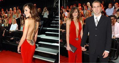 Rebecca Judd's dress was a little less conservative in 2004, when she wore a backless gown which also dropped down past her belly button at the front. (Getty)