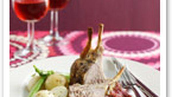 Honeyed lamb with rhubarb salsa