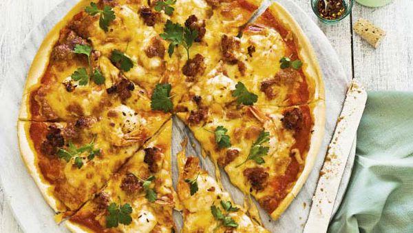 Garlic prawn, chorizo & chilli pizza