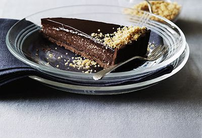 Triple chocolate praline tart