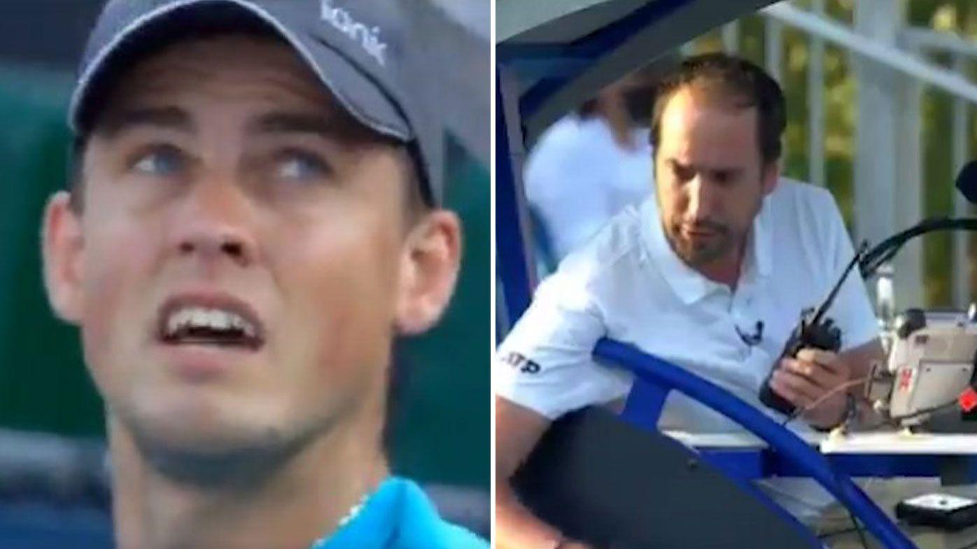 Canadian Vasek Pospisil launches a furious tirade at ATP chairman Andrea Gaudenzi, as chair umpire Arnaud Gabas intervenes.