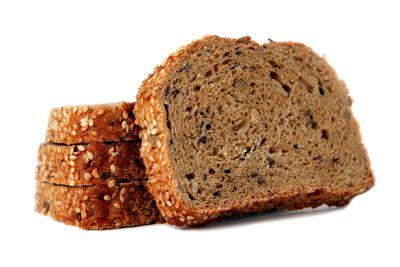 Whole grain bread: 1 slice has 14g carbs, 2g fibre, 81 calories