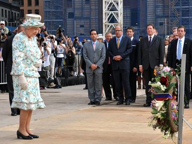 Queen Elizabeth II lays a wreath at the site of the World Trade Centre, in New York City, for the victims of 9/11 in 2010. (Photo by John Stillwell/PA Images via Getty Images)