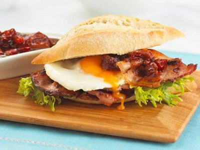 """Recipe: <a href=""""https://kitchen.nine.com.au/2016/05/05/13/57/cafestyle-bacon-and-egg-roll"""" target=""""_top"""">Cafe-style bacon and eggs</a>"""