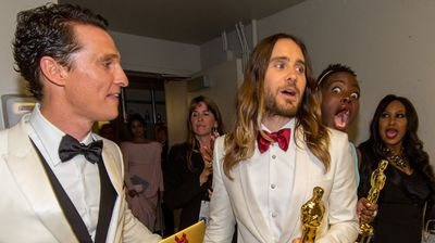 Best Supporting Actress Lupita Nyong'o gets Jared Leto back for all his photobombs (AAP).