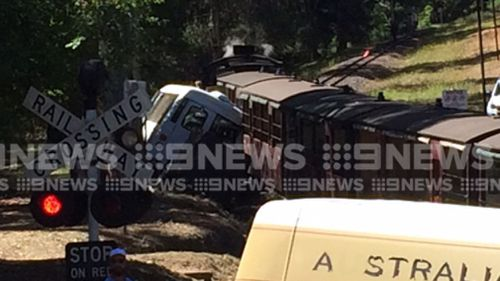 The iconic train has been involved in a crash with a mini bus. (9NEWS)