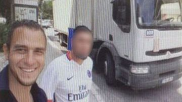 Bouhlel and a friend in front of the truck used to kill 84 people.