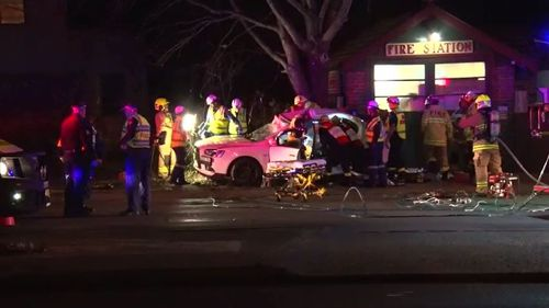 The 20-year-old driver of a Mitsubishi Lancer was killed in Rhodes, in Sydney's inner west, after his car struck a tree. Picture: 9NEWS.