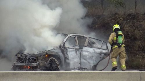 A white Mercedes was seen driving at speeds of up to 200km/h along the M5 at Moorebank before it crashed and burst into flames earlier this month.
