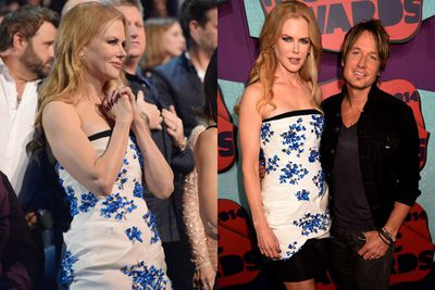 An oh-so-supportive Nicole Kidman strut down the red carpet in flirty floral... to stand by her man Keith Urban.