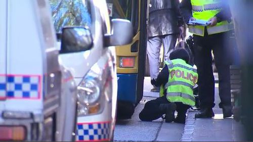 Forensic officers spent the morning collecting evidence at the crash site. Image: 9News