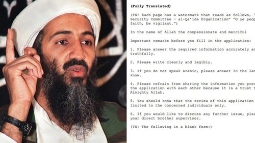 Al Qaeda 'job application' form released by US government