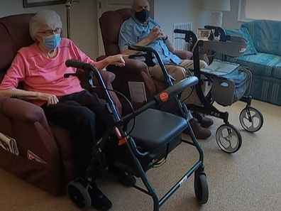 Glenna and Eugene Luetgers sit in their unit at Cherrywood Pointe of Plymouth.