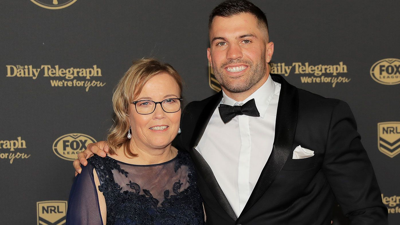 James Tedesco and his mother Rosemary at 2019 Dally M Awards
