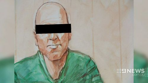 A court sketch of school cleaner Vincent Stanford. (9NEWS)