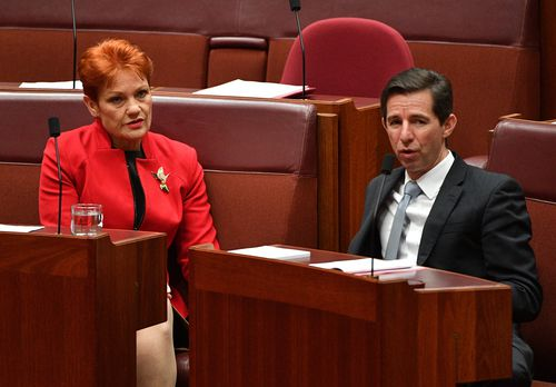The decision ends weeks of bitter debate after the government passed the plan with the support of nine out of 10 crossbenchers - including One Nation's Pauline Hanson. Picture: AAP.