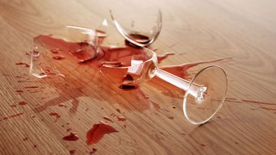 Smashed wine glass